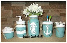 Home Decor Bathroom Beach bathroom decor nautical bathroom teal and white hand painted and distressed mason jars.Home Decor Bathroom Beach bathroom decor nautical bathroom teal and white hand painted and distressed mason jars. Beach Theme Bathroom, Nautical Bathrooms, Bathroom Sets, Bathroom Trash Can, Nautical Bathroom Decor, Bathroom Plants, Bathroom Decor, Beach Bathroom Decor, Painted Mason Jars