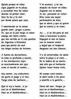 Paroles de la chanson Mediterraneo de Joan Manuel Serrat