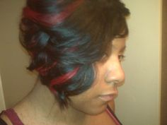 Quick Weave Bob Hairstyles | Used milky way 27 piece + Duby + a few inches of red track for ...