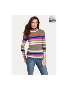 Pour un style tendance, ce pull-over à col roulé en tricot fin agréablement doux en cachemire ajoutera de la couleur à votre hiver #cachemire #modehiver