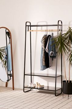 Shop Cameron Clothing Rack at Urban Outfitters today. We carry all the latest styles, colors and brands for you to choose from right here. Bedroom Storage, Bedroom Decor, Open Wardrobe, Wardrobe Rack, Garment Racks, New Room, Dorm Room, Room Inspiration, Small Spaces