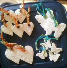Hearts  butterflies made with bicarb  cornflour air dry clay