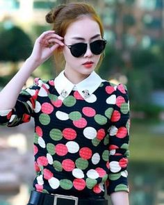 Pink and green round t shirt for womens peter pan collar shirt