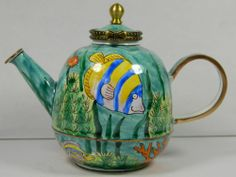 Chinese Copper Enameled Teapot Sauce/Vinegar/Oil Pot,Hand-Painted Fish & Seaweed