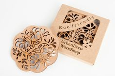 Set of 2 wooden cup coasters cosynatural by UrbanDecoWood on Etsy