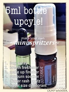 Make your own Mini Spritzers! Upcycle empty 5ml essential oil bottles with a spray topper! [Plus affordable EO substitutes for expensive EOs!]