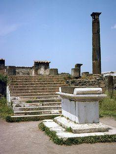 """(""""VIEW OF THE ALTAR AND FRONTAL STAIRS OF THE TEMPLE OF APOLLO OFF THE WEST SIDE OF THE CIVIC FORUM, POMPEII"""") ...."""
