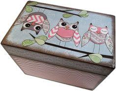 Caja de la receta, receta madera caja, caja de la receta personalizada, Chevron buho caja, boda receta caja, cuadro de despedida de soltera, sostiene las tarjetas 4 x 6, hechas por encargo