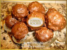 Ferrero Rocher (bombones). Ferrero Rocher y te lo muestro:. Pedido del público: los célebres bombones de avellana y chocolate. Todo casero. Aptos para celíacos (busquen productos aptos, sin TACC). Para 50 bombones:. 100 g. de avellanas. 50 g. de...