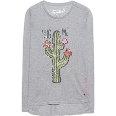 FROGBOX Cactus Hug Me Limestone // T-shirt with sequin print ($93) ❤ liked on Polyvore featuring tops, t-shirts, pattern t shirt, longsleeve t shirts, heather gray t shirt, rayon t shirts and sequin tee