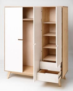 HUH by Raul Abner - Contemporary wardrobe / birch / plywood / with swing doors . Bedroom Cupboard Designs, Wardrobe Design Bedroom, Wardrobe Furniture, Bedroom Cupboards, Wardrobe Closet, Kids Wardrobe, Plywood Furniture, Home Furniture, Furniture Design