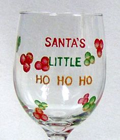 Christmas Wine Glass Hand Painted by ConniesCreations2010 on Etsy, $10.00
