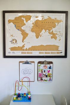 Scratch off travel map! This beautiful gold foil scratches away in different colors to show places you have traveled to around the world! Love the idea of framing it as art for your home!