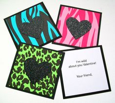 Animal Print Personalized Kids Valentine Cards - (Set of 24) - Wild About You, Jungle Print Zebra and Cheetah