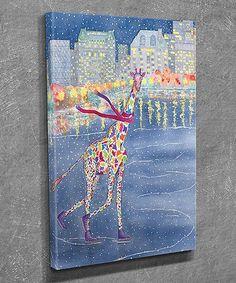 Look what I found on #zulily! Ice Skating Giraffe Canvas Wall Art #zulilyfinds