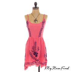 NWT FREE PEOPLE MEADOWS OF MEDALLION ORANGE CORAL TUNIC DRESS EMBROIDERED S B1 #FreePeople #Tunic