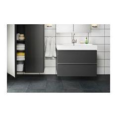 GODMORGON / BRÅVIKEN Meuble lavabo 2tir - brillant gris - IKEA 319e