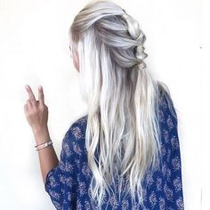 knotted ice blonde hair