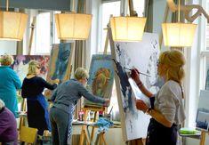 artist at work. Painting class at Art Studio Eduard Moes