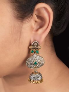 The Loom- An online Shop for Exclusive Handcrafted products comprising of Apparel, Sarees, Jewelry, Footwears & Home decor. Jewellery Earrings, Oxidised Jewellery, Temple Jewellery, Silver Jewellery, Indian Jewelry, Silver Earrings, Jewelery, Jewelry Model, Metal Jewelry