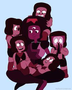 garnet is basically a larger ruby with a third eye, somega ruby mom! Universe Love, Universe Art, Desenhos Cartoon Network, Me Anime, Anime Stuff, Rainbow Quartz, Lapidot, Fanart, Third Eye