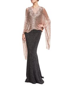 Hint+Sequined+Poncho+&+Boss+Glitter+Cloqué+Sleeveless+Gown+by+Talbot+Runhof+at+Neiman+Marcus.