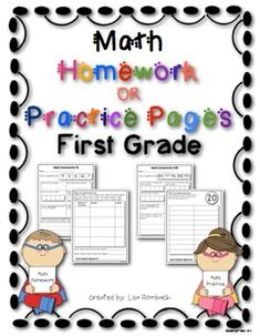 "First Grade Math Skills Homework Sheets or Practice Pages (36 two sided sheets to use for weekly homework or use each side individually for a math center, extra practice, differentiation, sub tub work or evaluation). One set has ""homework"" and ""adult helper signature"" and a duplicate set has these words removed so the sheets can be used in other ways. $"