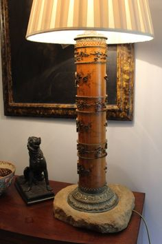 A Large Table Lamp formed from an Antique Wallpaper Printing Roller 150 inc pp