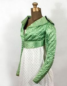Quilted silk spencer, c. 1800-1815.  Phoebe would probably wear this inside Mistletoe Manor because the house is so darn drafty!  Good Christmas color, too!