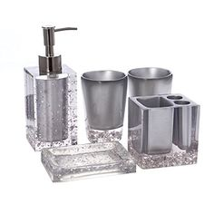 Bath accessory set with soap dispenser, toothbrush holder stand, tumbler and soap dish. Soap Dispenser: Toothbrush Holder: x Tumbler: diameter Soap Dish: x x Cream Bathroom, Bathroom Sets, Small Washing Machine, Marble Bathroom Accessories, Bad Set, Dish Soap Dispenser, Modern Bathroom Lighting, Bathroom Vanity Makeover, Soap Holder