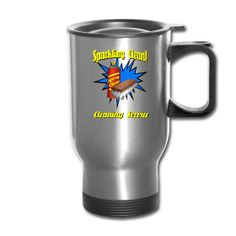 You can personalize this Cleaning Service Travel Mug with a name and phone number. From PersonalizedSouvenirs.com.