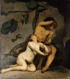Adam and Eve. 1876. Ferdnand Pelez. Spain. 1843-1913. oil on canvas.