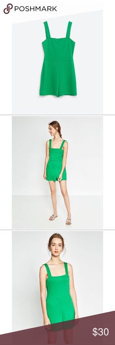 NWT ZARA S/S SQUARE NECKLINE JUMPSUIT ROMPER SZ L This is a brand new Zara jumpsuit/romper from the Spring/Summer Trafaluc Collection.   Details include: a square neckline, stretchy soft fabric, thicker straps, short bottoms, seam detailing.   Offers welcome!  #zara #zaratrafaluc #zaratrf #trafaluc #trf #zararomper #romper #zarajumpsuit #jumpsuit #zaradress #dress #green #tanktop #sleeveless #shorts Zara Pants Jumpsuits & Rompers