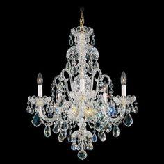 """Schonbek Olde World 22"""" Wide Swarovski Crystal Chandelier - Black pearl. 3,339.00.  5 - 60 wat. 22"""" wide by 28"""" wide."""