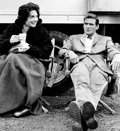 Suzanne Pleshette and Rod Taylor relax on the set of The Birds