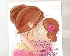 Mother Daughter Nursery Gift Wall Art Print Blonde Brunette by