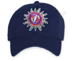 d20ae69e7c84b Grateful Dead - Sunshine Lightning Dark Blue Adjustable Hat Grateful Dead  Hats