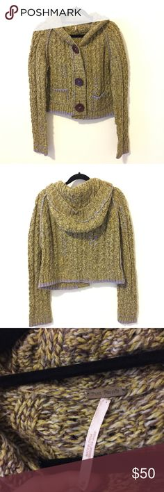 FREE PEOPLE Green Lavender Knit Hooded Sweater Free People Green Knit Button front sweater with green and Lavender threads - brownish buttons and has a hood attached. A size medium and is very warm and worn lightly! Free People Sweaters