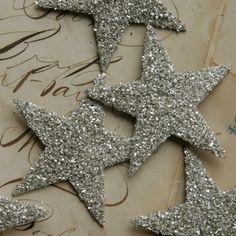 silver glittered stars