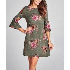 Paolino Olive Floral Bell-Sleeve Sweater Dress ($35) ❤ liked on Polyvore featuring dresses, long sweater dress, floral print long dress, olive green dresses, floral dresses and long boho dresses