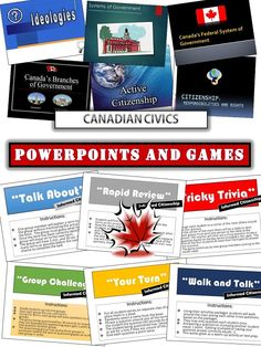 Now includes 9 ppt. lectures and 6 low-organization review games!   The ppts. are visually appealing and clear for students. They have worked very well helping students understand the following themes:  - Governing Canada (basically why Canada chose a federal system of government) - Canada's Federal System of Government - The Branches of Government - The Governor General - How a Bill becomes Law - Canadian Elections - Ideologies - Systems of Government - Political Parties