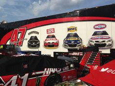 The #47 Team hauler displays the proud team sponsors and race cars on a beautiful day at the Sprint All-Star race at Charlotte Motorspeedway, May 16, 2015.