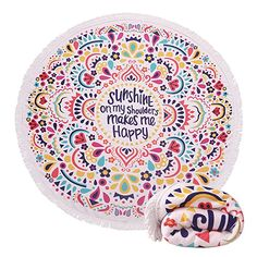 $20.99--WORDS--Thick Terry Round Beach Towel/Round Beach Blanket/Round Beach Mat Roundie Tapestry/Round Yoga Mat with Fringe Tassels