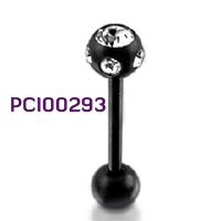 Piercing do jazyka z chirurgické oceli 316l PCI00293. Piercing s kuličkami. Jedna kulička je ozdobená čirými kamínky. http://www.piercingate.cz/piercing-do-jazyka-pci00293