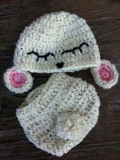 Lamb beanie and diaper cover set $33