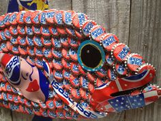 SOLD. More art from THE Hot Florida Sun, Mexican Sea PROJECT... | The Moore Family Folk Art The Moore Family Folk Art Pepsi Fish by Folk Artist Alan Moore. Vintage bottle caps and vintage steel soda cans. SOLD