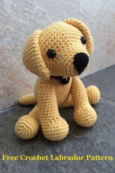 Crochet Stuffed Animal Patterns Crochet Labrador How To Make Your Own Toy Dog The Labrador Site - Stofftiere Amigurumi Free, Crochet Animal Amigurumi, Amigurumi Doll, Crochet Animals, Crochet Dolls, Crochet Stuffed Animals, Chat Crochet, Crochet Baby, Free Crochet