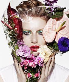 Stephanie Hall flower makeup style beauty shoot for S Moda El Pais Magazine April 2016