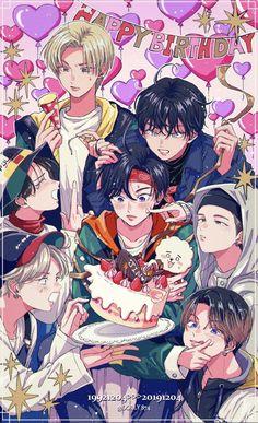 Fanarts jin x bts Bts Taehyung, Bts Jimin, Arte Copic, Bts Anime, Kpop Posters, K Wallpaper, Kpop Drawings, Dibujos Cute, Bts Aesthetic Pictures