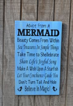 Mermaid - Beach Sign - Beach Decor - Mermaids - Advice From A Mermaid - Beach Theme - Coastal Decor - Reclaimed Wood - Painted on Etsy, $40.00